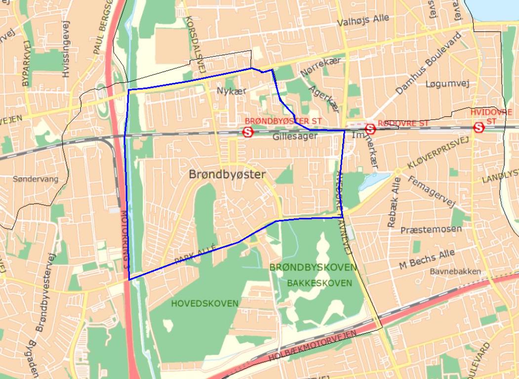 Kort: Visitationszone i dele af Brøndby