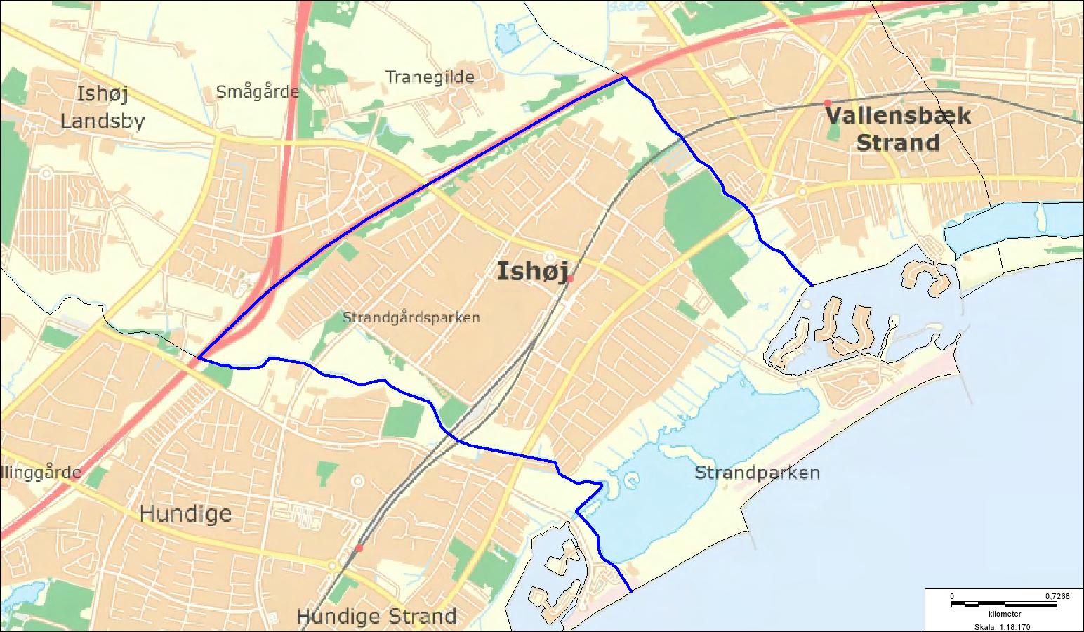 Oversigtskort over visitationszone i dele af Ishøj fra 16/9-30/9-19