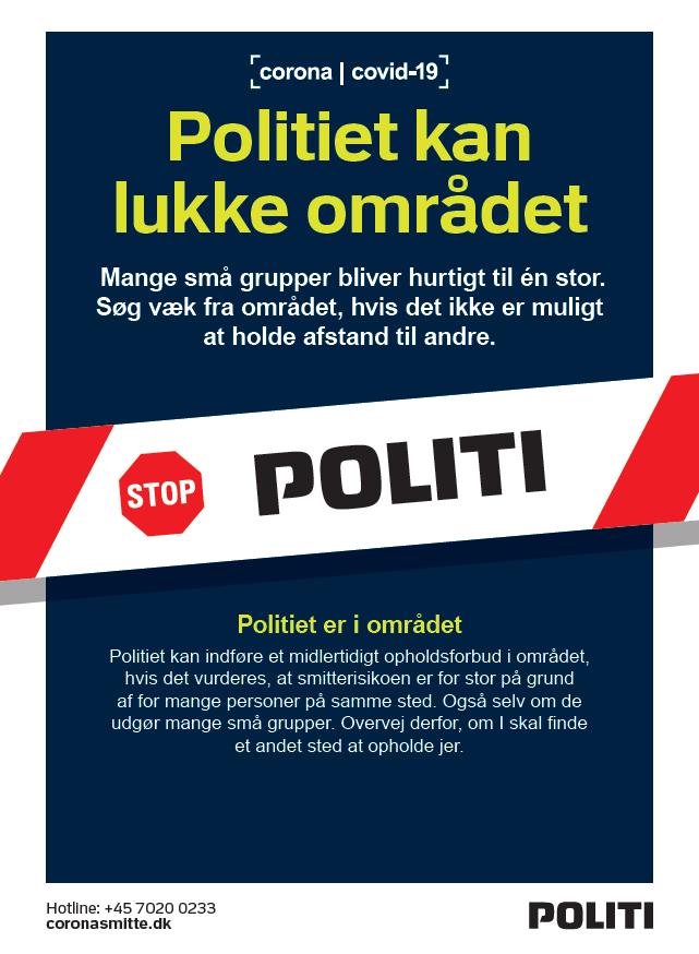 Skilt, der fortæller, at politiet kan udstede opholdsforbud
