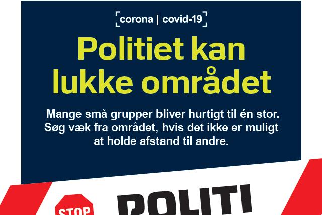 Udsnit af plakat, der orienterer om, at politiet kan lukke ormådet