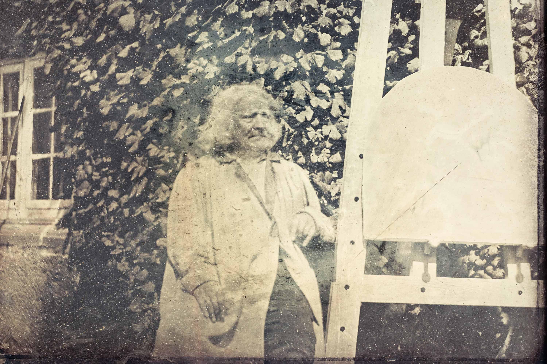 Bertel Thorvaldsen på det første portrætfoto i Danmark, 1840